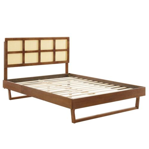Sidney Cane and Wood Full Platform Bed With Angular Legs in Walnut