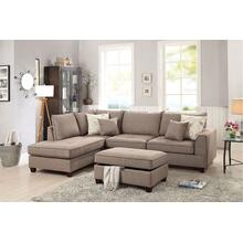 Navin 3pc Sectional Sofa Set, Mocha Dorris Fabric