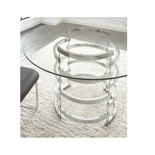 Tayside 45 inch Round Glass Top Dining Table