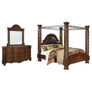 See Details - California King Poster Bed With Canopy With Mirrored Dresser