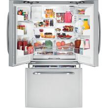 GE® ENERGY STAR® 25.9 Cu. Ft. French-Door Refrigerator with Icemaker (This is a Stock Photo, actual unit (s) appearance may contain cosmetic blemishes.  Please call store if you would like actual pictures).  This unit carries our 6 month warranty, MANUFACTURER WARRANTY and REBATE NOT VALID with this item. ISI 39907