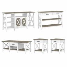See Details - Tall TV Stand with Coffee Table, Console Table and Set of 2 End Tables, Shiplap Gray/Pure White
