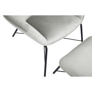 Modern Velvet Chair and Ottoman Set in Silver