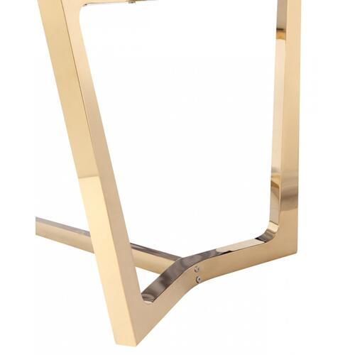 Modrest Garrett Modern Brown Faux Marble & Gold Dining Table