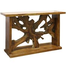 Bennet Console Table  52in X 33in X 16in  Rustic Solid Teak Root and mahoany frame in a natural Oi