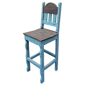 "Blue Scrap 30""stool Wood Seat"