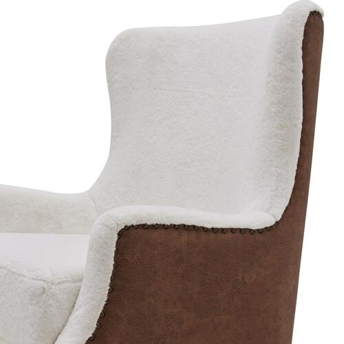 Anthony Faux Fur Fabric Swivel Rocker Tufted Accent Arm Chair, Fleece White/Devore Cocoa