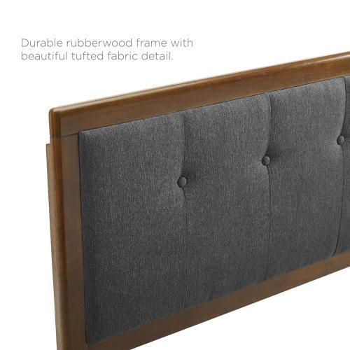 Draper Tufted Full Fabric and Wood Headboard in Walnut Charcoal