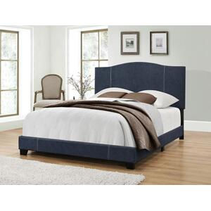 King All-In-One Modified Camel Back Upholstered Bed in Denim Vintage