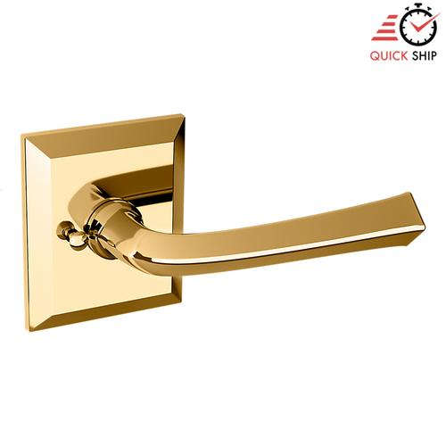Baldwin - Non-Lacquered Brass 5141 Estate Lever with R033 Rose