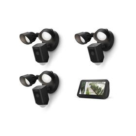 3-Pack Floodlight Cam Wired Plus with Echo Show 5 (Charcoal) - Black