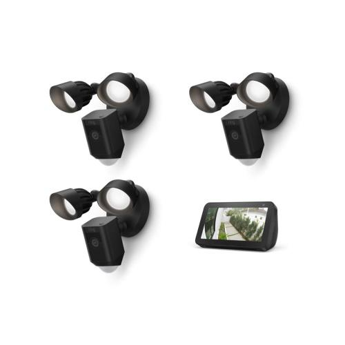 Ring - 3-Pack Floodlight Cam Wired Plus with Echo Show 5 (Charcoal) - White