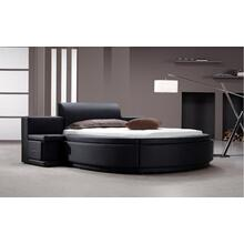 Modrest Owen - Black Leatherette Round Bed with Storage