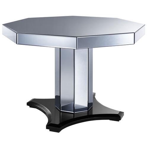 Smoked Mirrored Octagon Pedestal Table Base