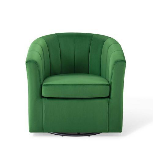 Prospect Performance Velvet Swivel Armchair in Emerald