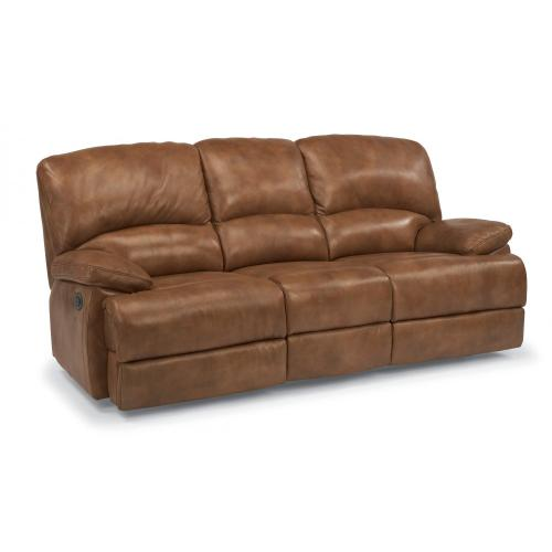 Product Image - Dylan Leather Three-Cushion Power Reclining Sofa with Chaise Footrests