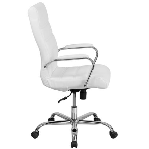Gallery - High Back Gold LeatherSoft Executive Swivel Office Chair with Chrome Frame and Arms