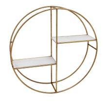 "Metal/wood 24"" Round Shelf, White/gold"