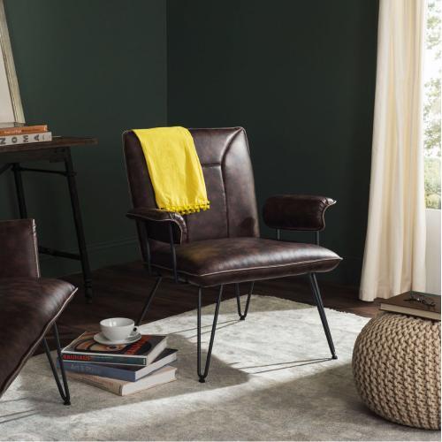 "Johannes 17.3""H Mid Century Modern Leather Arm Chair - Antique Brown / Black"