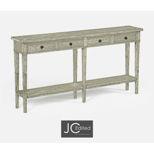 Rustic Grey Four Drawer Console