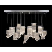 Nami: Thirty-One Light Horizontal Pendant Chandelier in Formed Acrylic Waves
