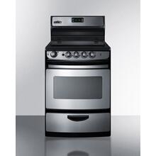 """Product Image - 24"""" Wide Smoothtop Electric Range In Stainless Steel, With Lower Storage Drawer, Oven Window, and Digital Clock"""
