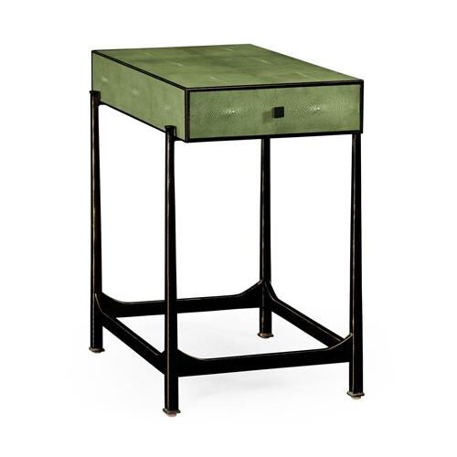 Green faux shagreen bronze side table