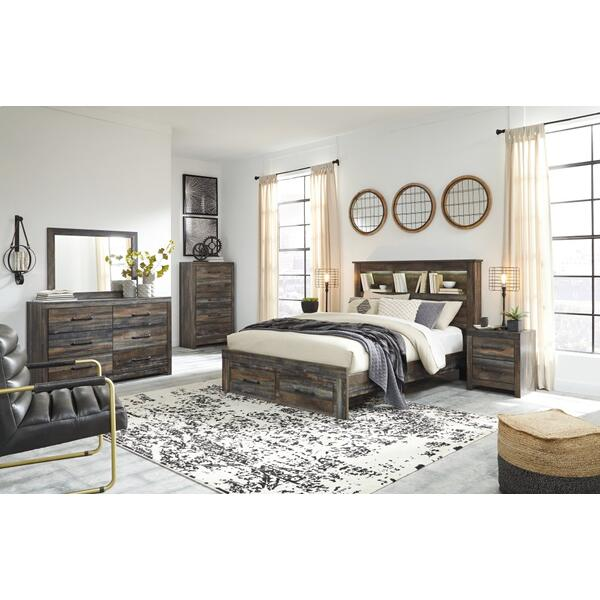 Drystan Queen Bookcase Bed With 2 Storage Drawers