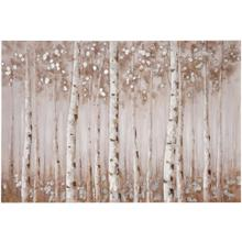 See Details - FALL TREES  HAND PAINTED  SILVER FOIL  32in X 47in  Birch Trees In The Fall Hand Painted Canvas