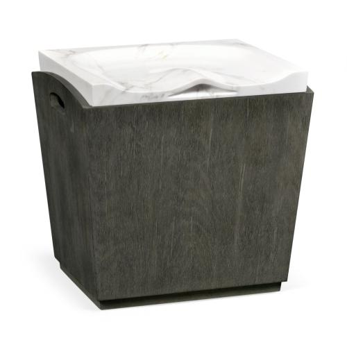 Outdoor Grey Weather & Faux White Marble Stool