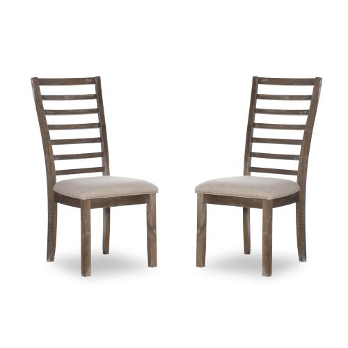 Upholstered Seat and Ladder Back Side Chairs, Brown (set of 2)