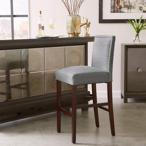 Nailhead Trim Upholstered Barstool in Gray