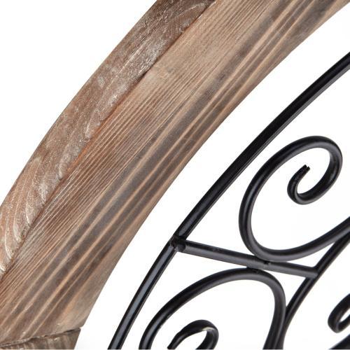 Sieger Wooden Framed Round Iron Wall Decor