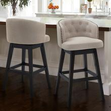 "Armen Living Celine 26"" Counter Height Barstool in Espresso Finish and Tan Fabric"