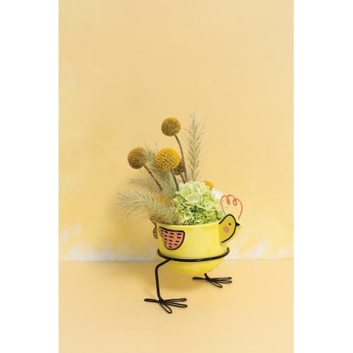 "5.25""x 3""x 4.75"" Yellow Birdy Pot"