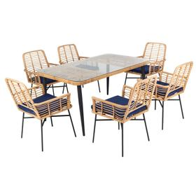 Beson 7pc Dining Set - Natural / Navy Cushion