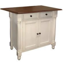 Product Image - Kitchen Island w/Drop Leaf - Antique White and Chestnut Top