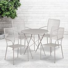 "Commercial Grade 30"" Round Light Gray Indoor-Outdoor Steel Folding Patio Table Set with 4 Square Back Chairs"