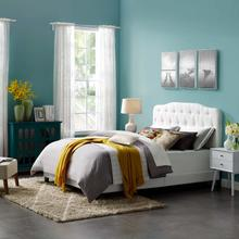 View Product - Amelia Queen Upholstered Fabric Bed in White