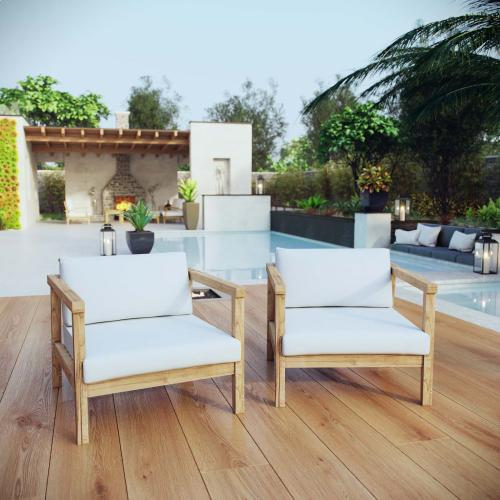 Bayport 2 Piece Outdoor Patio Teak Set in Natural White
