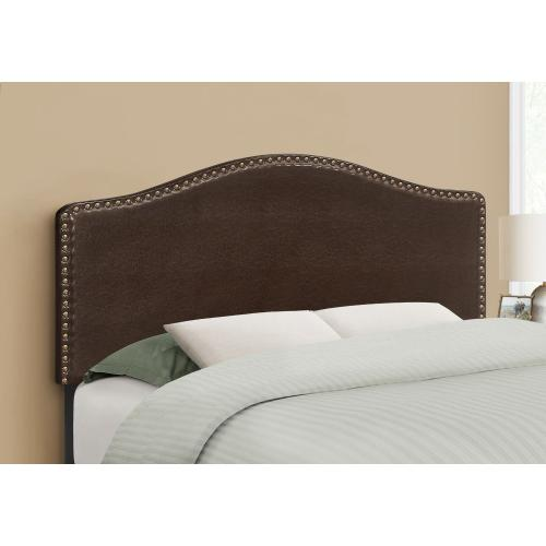 BED - FULL SIZE / BROWN LEATHER-LOOK HEADBOARD ONLY