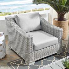 Conway Sunbrella® Outdoor Patio Wicker Rattan Armchair in Light Gray Gray