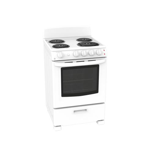 "GE 24"" 2.9 cu ft Slide-In Electric Standard Clean Range"