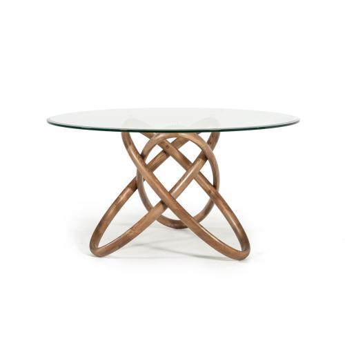 Modrest Mason Modern Round Glass & Walnut Dining Table