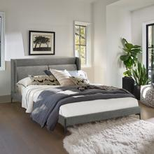 View Product - Legend Gray Fabric Queen Platform Bed with Black Metal Legs