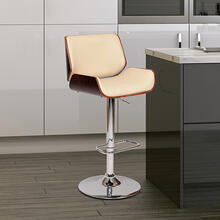 Armen Living London Swivel Barstool In Cream PU/ Walnut Veneer and Chrome Base