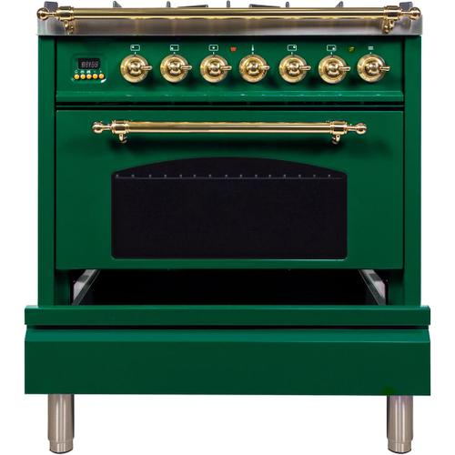 Nostalgie 30 Inch Dual Fuel Natural Gas Freestanding Range in Emerald Green with Brass Trim