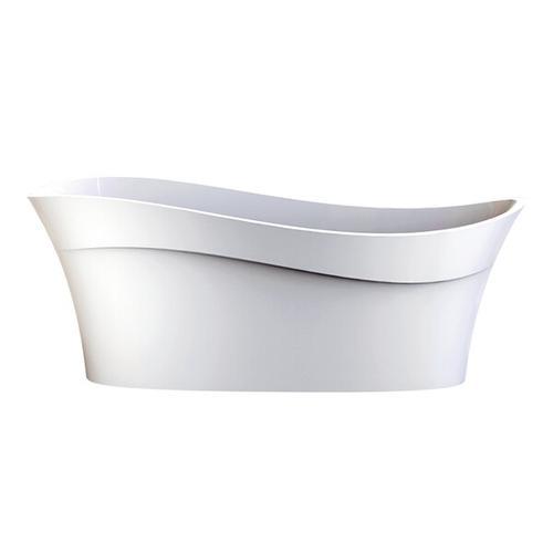Pescadero 66-3/4 Inch X 31-3/8 Inch Freestanding Soaking Bathtub in Volcanic Limestone™ with No Overflow Hole - Gloss White