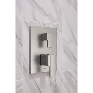 90 Degree brushed nickel m-core 3-series with integrated transfer valve trim