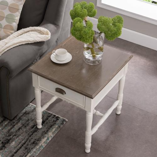 Toscana Drawer End Table with Wood Cup Pull #11707